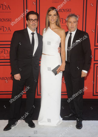 Designers Ken Kaufman and Isaac Franco pose with Alessandra Ambrosio attend the 2013 CFDA Fashion Awards at Alice Tully Hall on in New York