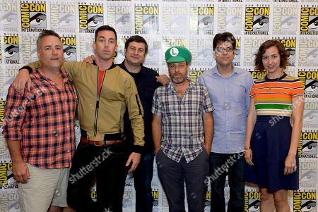 "From left, actors Larry Murphy, John Roberts, Eugene Mirman, H. Jon Benjamin, Dan Mintz and Kristen Schaal attend the FOX ""Bob's Burgers"" press room on Day 3 of Comic-Con International on in San Diego, Calif"