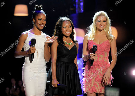 """From left, Taylour Paige, Logan Browning and Katherine Bailess, from the cast of """"Hit The Floor,"""" speak on stage at the Do Something Awards at the Avalon, in Los Angeles"""