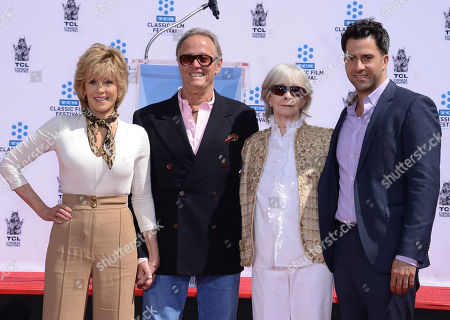 Jane Fonda, from left, Peter Fonda, Shirlee Mae Adams and Troy Garity pose at the 2013 TCM Classic Film Festival honors Jane Fonda with a handprint and footprint ceremony at the TCL Chinese Theatre on in Los Angeles