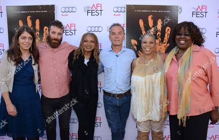 """From left-right, Nancy Abraham, Barney Bloomfield, Margaret Prescod, Nick Broomfield, Pamela Brooks, and LaVerne Butler are shown at 2014 AFI Fest - """"Tales Of The Grimm Sleeper"""" at The Egyptian Theatre, in Los Angeles, Calif"""