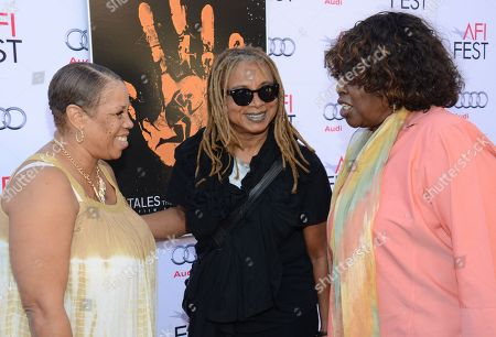 """Pamela Brooks, left. Margaret Prescod,center, and LaVerne Butler, right, are seen at the 2014 AFI Fest - """"Tales Of The Grimm Sleeper"""" at The Egyptian Theatre, in Los Angeles, Calif"""