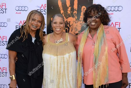 """Margaret Prescod, left, Pamela Brooks, center, and LaVerne Butler, right, are seen at the 2014 AFI Fest - """"Tales Of The Grimm Sleeper"""" at The Egyptian Theatre, in Los Angeles, Calif"""
