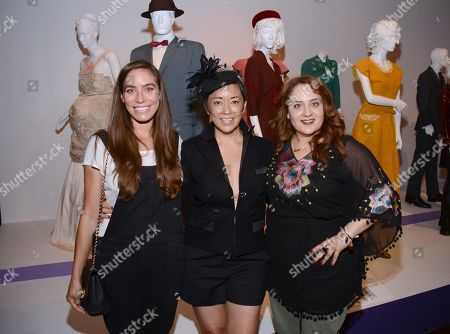 """Milissa Sears and from left, Ane Crabtree, costume designer of """"Masters of Sex,"""" and Artemis Pebdani seen at the Television Academy's 66th Emmy Awards Costume Design and Supervision Nominee Reception at the Fashion Institute of Design & Merchandising, in Los Angeles"""