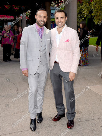 Nick Verreos, FIDM spokesperson and fashion designer, left, and David Paul seen at the Television Academy's 66th Emmy Awards Costume Design and Supervision Nominee Reception at the Fashion Institute of Design & Merchandising, in Los Angeles