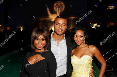 EXCLUSIVE - Angell Conwell, and from left, Redaric Williams and Mishael Morgan attend the 2014 Daytime Emmy Nominee Reception presented by the Television Academy at The London West Hollywood on