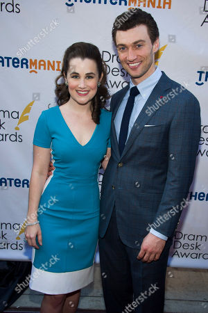 Lauren Worsham and Bryce Pinkham attend the Drama Desk Awards on in New York