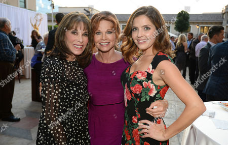 Kate Linder, and from left, Patsy Pease and Jen Lilley attend the Television Academy's 66th Emmy Awards Performers Peer Group Celebration at the Montage Beverly Hills, in Beverly Hills, Calif