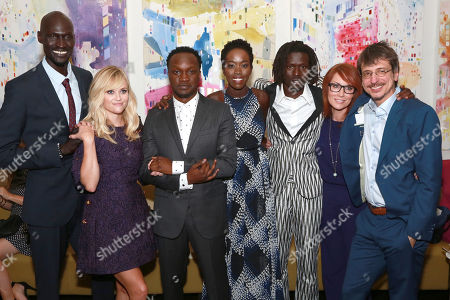 """Ger Duany, Reese Witherspoon, Arnold Oceng, Kuoth Wiel, Emmanuel Jal, Writer Margaret Nagle and Director Philippe Falardeau seen at Warner Bros. """"The Good Lie"""" Premiere at 2014 TIFF, in Toronto"""