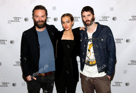 """Stock Image of From left, director Tristan Patterson, actress Isabel Lucas and actor Jim Sturgess attend the world premiere of """"Electric Slide"""" at the 2014 Tribeca Film Festival, in New York"""