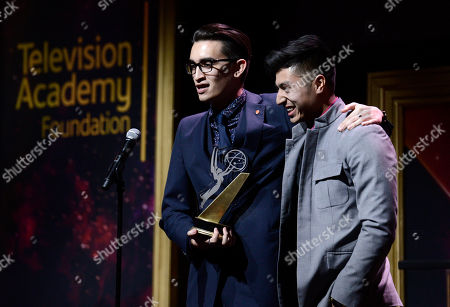 """Stock Photo of Christopher Campbell, left, of Art Center College of Design, accepts the 1st Place Commercial award for """"Maglite â?"""" Dreamweaver"""" with Edward Bean at the 36th College Television Awards, presented by the Television Academy Foundation at the Skirball Cultural Center in Los Angeles on"""