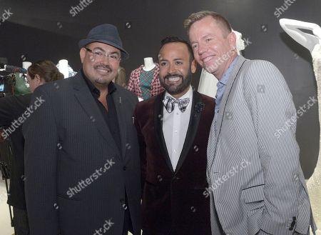 "Christopher Lawrence, costume designer of ""Ray Donovan"", from left, Nick Verreos and Salvador Perez, costume designer of ""The Mindy Project"" seen at The 9th Annual Outstanding Art of Television Costume Design Exhibition opening at the FIDM Museum & Galleries on the Park, in Los Angeles. The Television Academy and FIDM Museum honored this year's Emmy(R) Award winners in Outstanding Costume Design at the opening reception for this annual special exhibition"