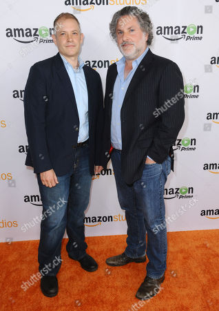 "Writer/producers Joe Gangemi, left, and Gregory Jacobs attend the ""Red Oaks"" photo call at the Amazon Summer TCA Tour at the Beverly Hilton Hotel, in Beverly Hills, Calif"
