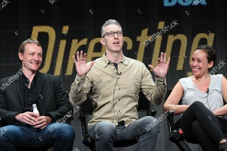 """Stock Picture of Writer Alec Berg, from left, directors Michael Blieden, and Zetna Fuentes participate in the """"Directing Funnyâ?? panel at the Directors Guild of America Summer TCA Tour held at the Beverly Hilton Hotel on in Beverly Hills, Calif"""