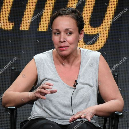 """Stock Photo of Director Zetna Fuentes participates in the """"Directing Funnyâ?? panel at the Directors Guild of America Summer TCA Tour held at the Beverly Hilton Hotel on in Beverly Hills, Calif"""