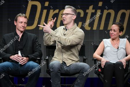 """Stock Picture of Writer Alec Berg, from left, directors Michael Blieden and Zetna Fuentes participate in the """"Directing Funnyâ?? panel at the Directors Guild of America Summer TCA Tour held at the Beverly Hilton Hotel, in Beverly Hills, Calif"""
