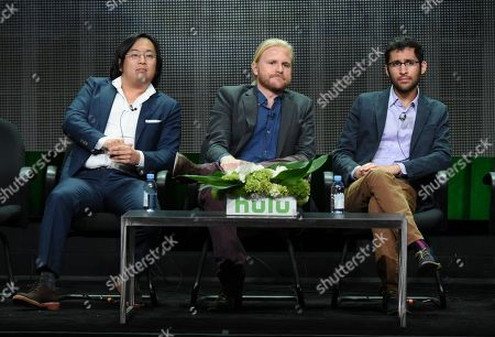 """Stock Photo of Freddie Wong, from left, Ben Walker and Anthony Burch participate in the """"RocketJump: The Show"""" panel at the Hulu Summer TCA Tour at the Beverly Hilton Hotel, in Beverly Hills, Calif"""