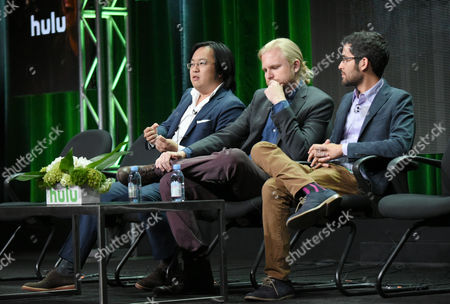 """Stock Picture of Freddie Wong, from left, Ben Walker and Anthony Burch participate in the """"RocketJump: The Show"""" panel at the Hulu Summer TCA Tour at the Beverly Hilton Hotel, in Beverly Hills, Calif"""