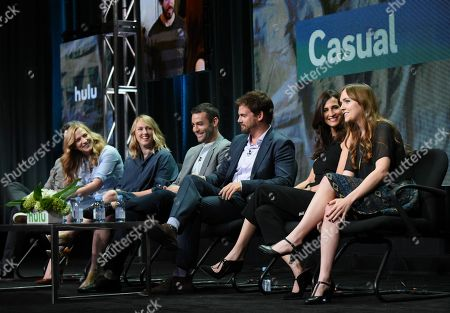 """Director Jason Reitman, from left, executive producers Helen Estabrook and Liz Tigelaar, creator Zander Lehmann, Tommy Dewey, Michaela Watkins and Tara Lynne Barr participate in the """"Casual"""" panel at the Hulu Summer TCA Tour at the Beverly Hilton Hotel, in Beverly Hills, Calif"""