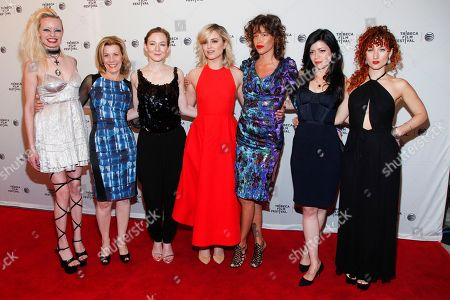 "Kelly Pittman, from left, Mary Price Moore, Louisa Krause, Dianna Agron, Paz de la Huerta, Natalia Leite and Alexandra Roxo attend the Tribeca Film Festival world premiere of ""Bare"" at the SVA Theatre, in New York"