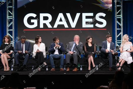 """Nia Vardalos, from left, Ernie Hudson, Sela Ward, Joshua Michael Stern, Nick Nolte, Callie Hernandez, Chris Lowell and Helene Yorke participate in the """"Graves"""" panel during the EPIX Television Critics Association summer press tour, in Beverly Hills, Calif"""