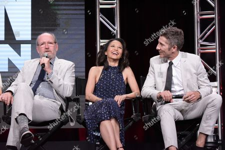 "Richard Jenkins, from left, Tamlyn Tomita and Leland Orser participate in the ""Berlin Station"" panel during the EPIX Television Critics Association summer press tour, in Beverly Hills, Calif"