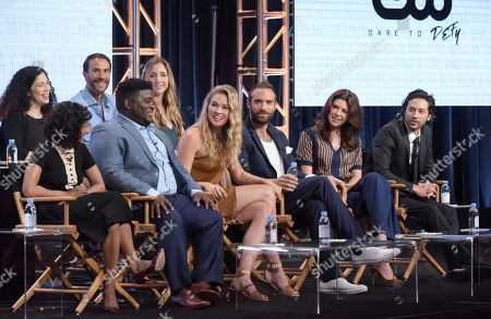 "Stock Image of Executive producers Maggie Friedman, from back row left, Ben Silverman, Corinne Brinkerhoff, and from front row left, actors Sarayu Blue, Jonathan Langdon, Tori Anderson, Joshua Sasse, Amy Pietz and Jesse Rath participate in the ""No Tomorrow"" panel during The CW Television Critics Association summer press tour, in Beverly Hills, Calif"