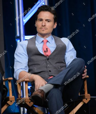 """Daniel Bonjour participates in the """"Frequency"""" panel during The CW Television Critics Association summer press tour, in Beverly Hills, Calif"""