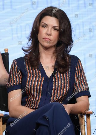 """Amy Pietz participates in the """"No Tomorrow"""" panel during The CW Television Critics Association summer press tour, in Beverly Hills, Calif"""