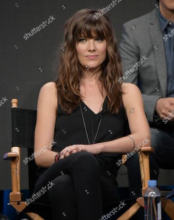 "Devin Kelley participates in the ""Frequency"" panel during The CW Television Critics Association summer press tour, in Beverly Hills, Calif"
