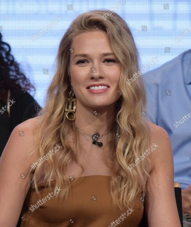 """Tori Anderson participates in the """"No Tomorrow"""" panel during The CW Television Critics Association summer press tour, in Beverly Hills, Calif"""
