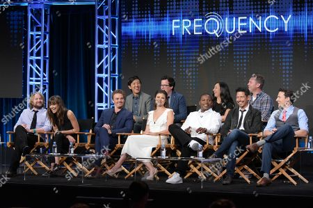 "Executive producers Dan Lin, from back row left, Jeremy Carver, Jennifer Swartz, John Rickard, and from front row left, actors Lenny Jacobson, Devin Kelley, Riley Smith, Peyton List, Mekhi Phifer, Anthony Ruivivar, and Daniel Bonjour participate in the ""Frequency"" panel during The CW Television Critics Association summer press tour, in Beverly Hills, Calif"