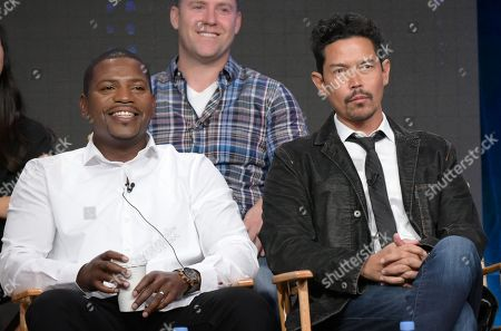 "Stock Photo of Mekhi Phifer, left, and Anthony Ruivivar participate in the ""Frequency"" panel during The CW Television Critics Association summer press tour, in Beverly Hills, Calif"