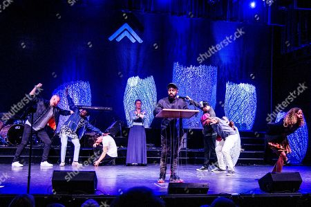 Lil Buck, center, performs on board the Norwegian Escape during day 3 of the Summit at Sea cruise on in Miami