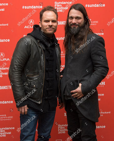 "Composers Danny Bensi, left, and Saunder Jurriaans pose at the premiere of ""Frank & Lola"" during the 2016 Sundance Film Festival, in Park City, Utah"