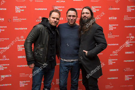 "From left, composer Danny Bensi, director/writer Matthew M. Ross and composer Saunder Jurriaans pose at the premiere of ""Frank & Lola"" during the 2016 Sundance Film Festival, in Park City, Utah"