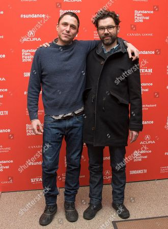 "Director/writer Matthew M. Ross, left, and producer Jay Van Hoy pose at the premiere of ""Frank & Lola"" during the 2016 Sundance Film Festival, in Park City, Utah"