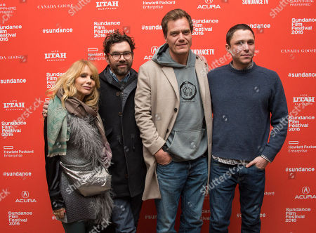 "From left, actress Rosanna Arquette, producer Jay Van Hoy, actor Michael Shannon, and director/writer Matthew M. Ross pose at the premiere of ""Frank & Lola"" during the 2016 Sundance Film Festival, in Park City, Utah"