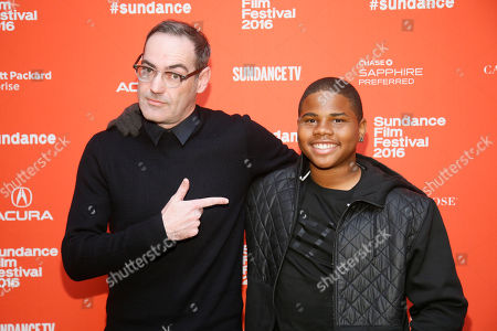 "Writer and director Chad Hartigan, left, and actor Markees Christmas pose at the premiere of ""Morris From America"" during the 2016 Sundance Film Festival, in Park City, Utah"