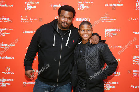 """Actors Craig Robinson, left, and Markees Christmas, right, pose at the premiere of """"Morris From America"""" during the 2016 Sundance Film Festival, in Park City, Utah"""