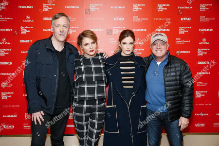 """From left to right, directors, writers and executive producers Lodge Kerrigan, and Amy Seimetz, actress Riley Keough, and Starz CEO Chris Albrecht pose at the premiere of the Starz original limited series """"The Girlfriend Experience"""" during the 2016 Sundance Film Festival, in Park City, Utah"""