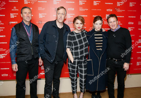 """From left to right, Starz managing director Carmi Zlotnik, directors, writers and executive producers Lodge Kerrigan, and Amy Seimetz, actress Riley Keough, and executive producer Philip Fleishman pose at the premiere of the Starz original limited series """"The Girlfriend Experience"""" during the 2016 Sundance Film Festival, in Park City, Utah"""