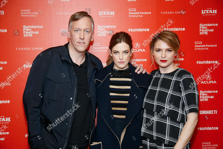 """Directors, writers and executive producers Lodge Kerrigan, left, Amy Seimetz, right, and actress Riley Keough, center, pose at the premiere of the Starz original limited series """"The Girlfriend Experience"""" during the 2016 Sundance Film Festival, in Park City, Utah"""