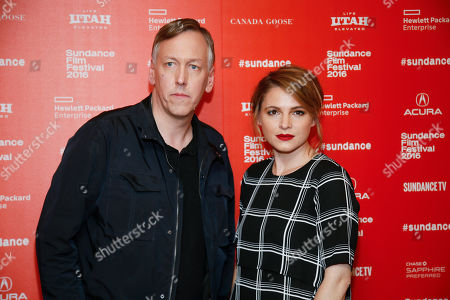"""Directors, writers and executive producers Lodge Kerrigan, left, and Amy Seimetz, right, pose at the premiere of the Starz original limited series """"The Girlfriend Experience"""" during the 2016 Sundance Film Festival, in Park City, Utah"""