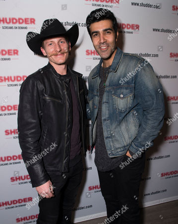 Stock Picture of James Landry Hebert, left, and Bobby Naderi pose at the Shudder/Midnight party during the 2016 Sundance Film Festival, in Park City, Utah