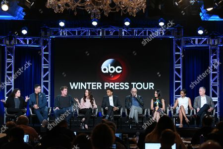 "Barbie Kligman, from left, Charlie Barnett, Kenny Johnson, Juliette Lewis, Michael Ealy, Terry O'Quinn, Jordana Brewster, Mekia Cox and Aaron Kaplan participate in the ""Secrets and Lies"" panel at the ABC 2016 Winter TCA, in Pasadena, Calif"