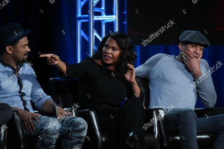 """Stock Photo of Actors Mike Epps, from left, Nia Long and James Lesure participate in the """"Uncle Buck"""" panel at the ABC 2016 Winter TCA, in Pasadena, Calif"""
