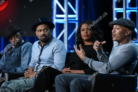 "Actors Will Packer, from left, Mike Epps, Nia Long and James Lesure participate in the ""Uncle Buck"" panel at the ABC 2016 Winter TCA, in Pasadena, Calif"