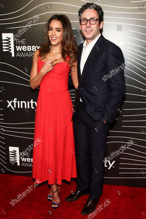 Jessica Alba, left, and Neil Blumenthal, right, attend the 20th Annual Webby Awards at Cipriani Wall Street, in New York