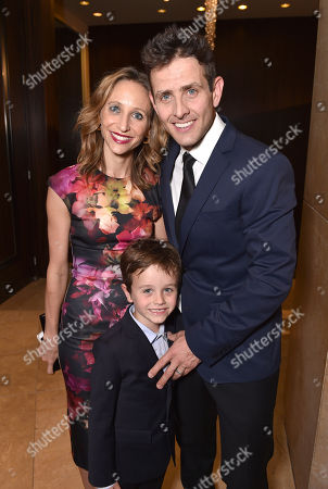 "Barrett Williams McIntyre, and from left, Griffin Thomas McIntyre and Joey McIntyre attend the 23rd annual ""A Night at Sardi's"" to benefit the Alzheimer's Association at the Beverly Hilton Hotel, in Beverly Hills, Calif"